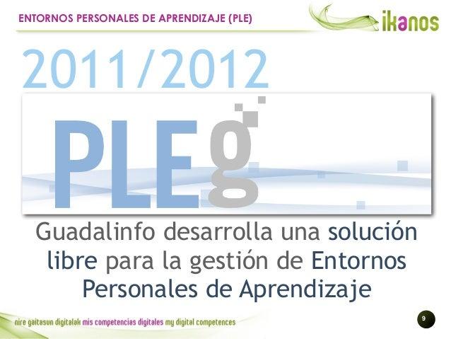!9 ENTORNOS PERSONALES DE APRENDIZAJE (PLE) 2011/2012 Guadalinfo desarrolla una solución libre para la gestión de Entornos...