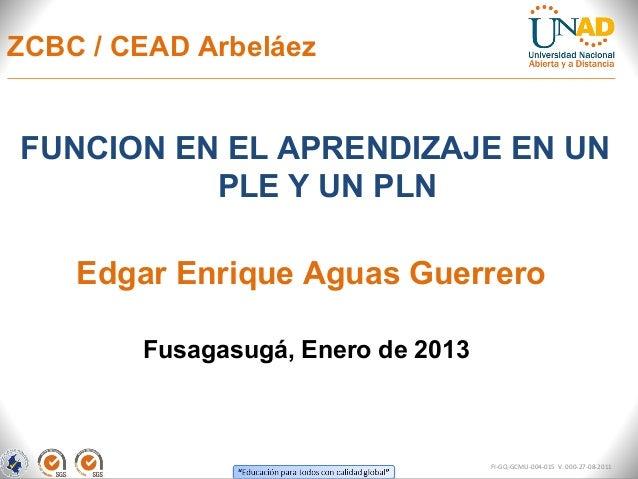 ZCBC / CEAD ArbeláezFUNCION EN EL APRENDIZAJE EN UN          PLE Y UN PLN    Edgar Enrique Aguas Guerrero        Fusagasug...