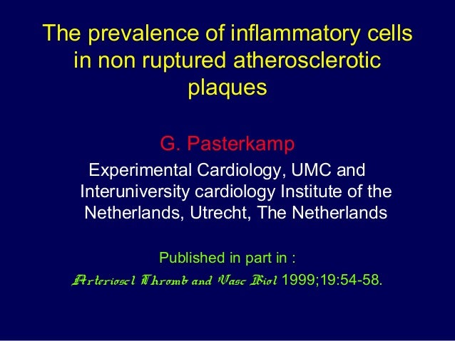 The prevalence of inflammatory cells in non ruptured atherosclerotic plaques G. Pasterkamp Experimental Cardiology, UMC an...
