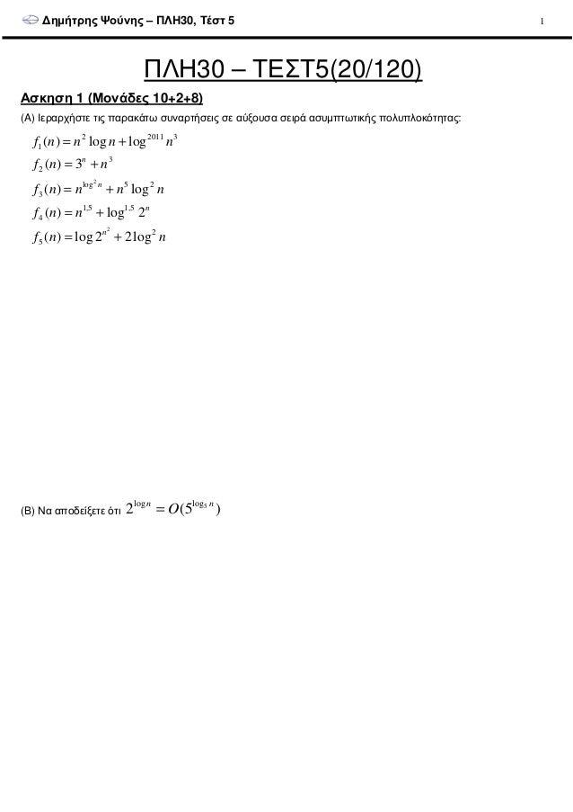 ∆ηµήτρης Ψούνης – ΠΛΗ30, Τέστ 5 1 ΠΛΗ30 – ΤΕΣΤ5(20/120) Ασκηση 1 (Μονάδες 10+2+8) (A) Ιεραρχήστε τις παρακάτω συναρτήσεις ...