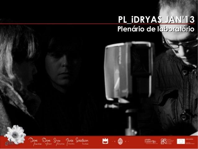 PL_iDRYAS JAN'13Plenário de laboratório