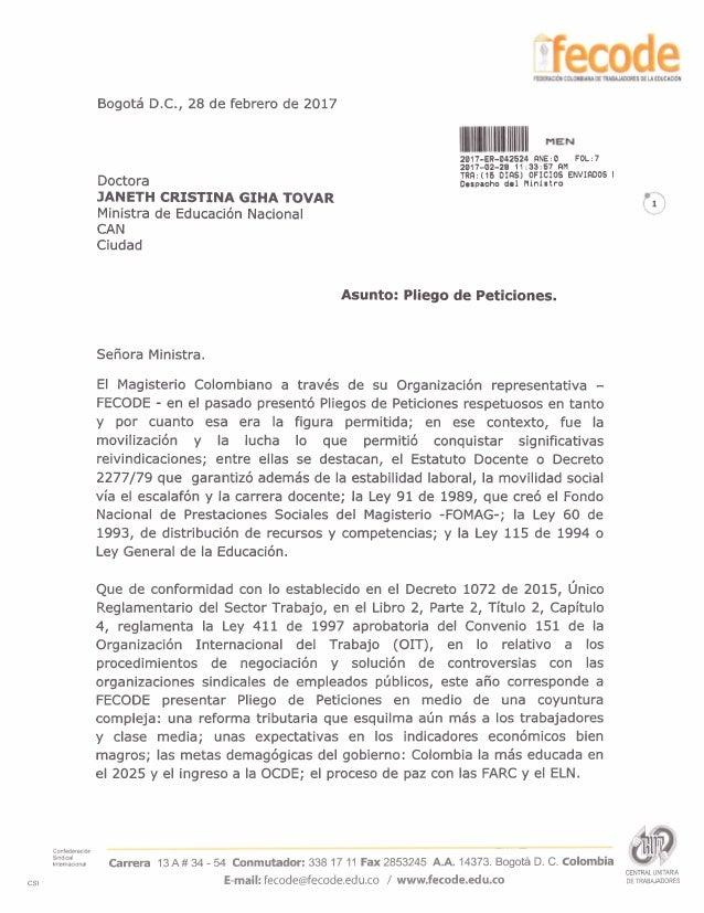 Bogota D.C., 28 de febrero de 2017 Doctora JANETH CRISTINA GIHA TOVAR Ministra de Educaci6n Nacional CAN Ciudad 2017-ER-04...