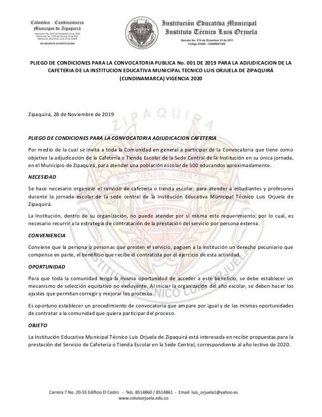 PLIEGO DE CONDICIONES PARA LA CONVOCATORIA PUBLICA No. 001 DE 2019 PARA LA ADJUDICACION DE LA CAFETERIA DE LA INSTITUCION ...