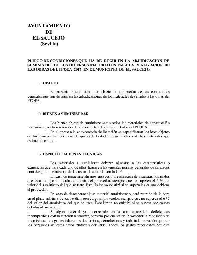 AYUNTAMIENTO DE EL SAUCEJO (Sevilla) PLIEGO DE CONDICIONES QUE HA DE REGIR EN LA ADJUDICACION DE SUMINISTRO DE LOS DIVERSO...