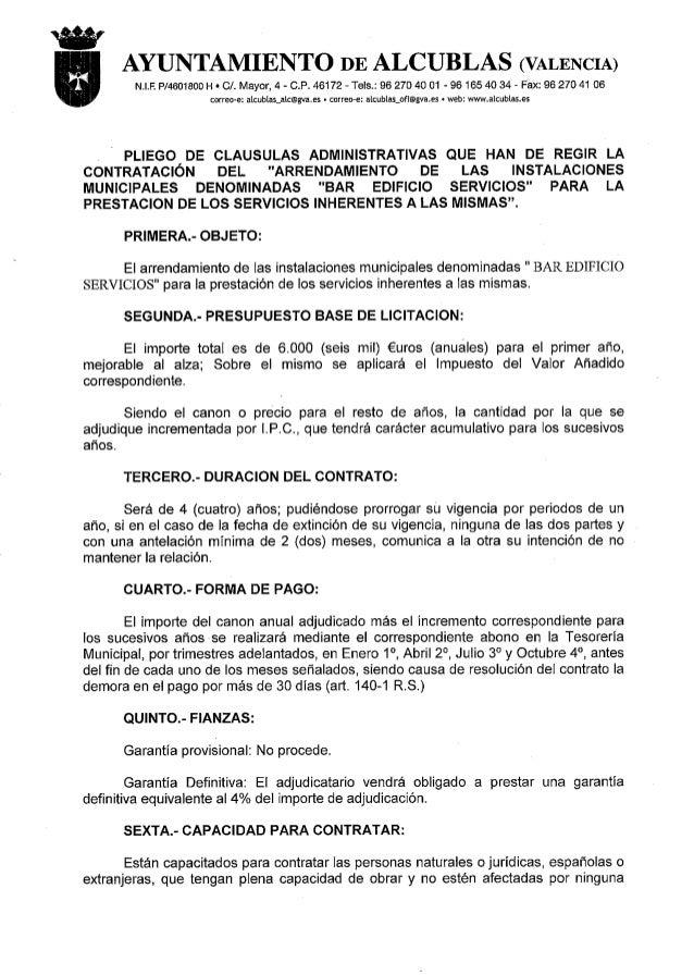 AYUNTAMIENTO DE ALCUBLAS (VALENCIA)  N. I.F.  P/4601800 H I Cl.  Mayor,  4 - C. P. 46172 - Tels. : 96 27D 40 01 - 96 165 4...