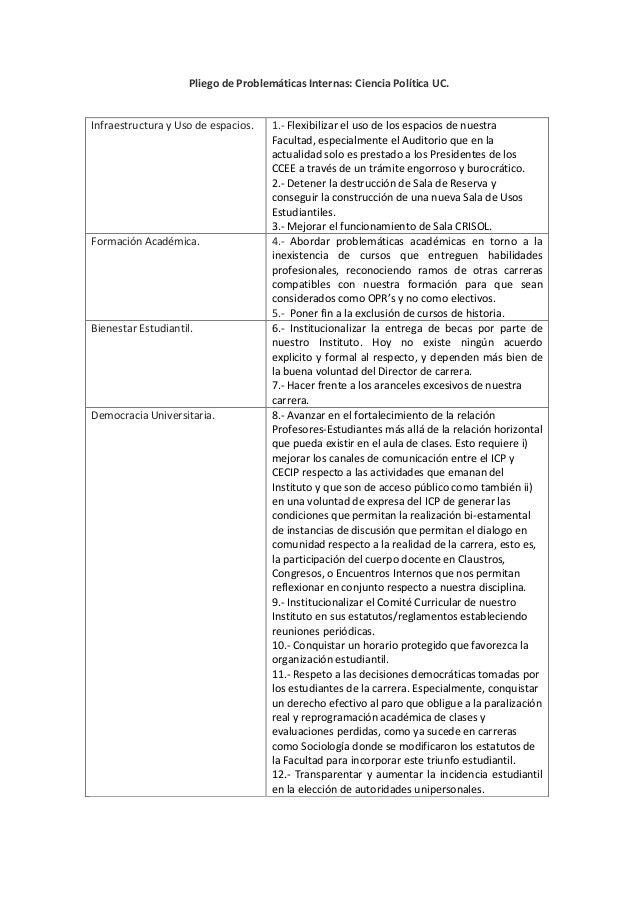 Pliego de Problemáticas Internas: Ciencia Política UC. Infraestructura y Uso de espacios. 1.- Flexibilizar el uso de los e...