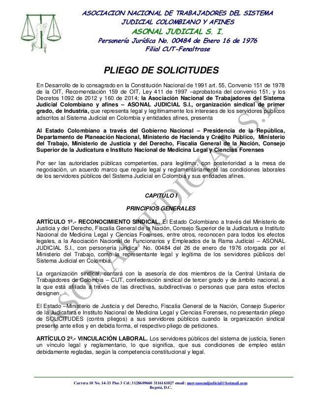 ASOCIACION NACIONAL DE TRABAJADORES DEL SISTEMA JUDICIAL COLOMBIANO Y AFINES  ASONAL JUDICIAL S. I.  Personería Jurídica N...