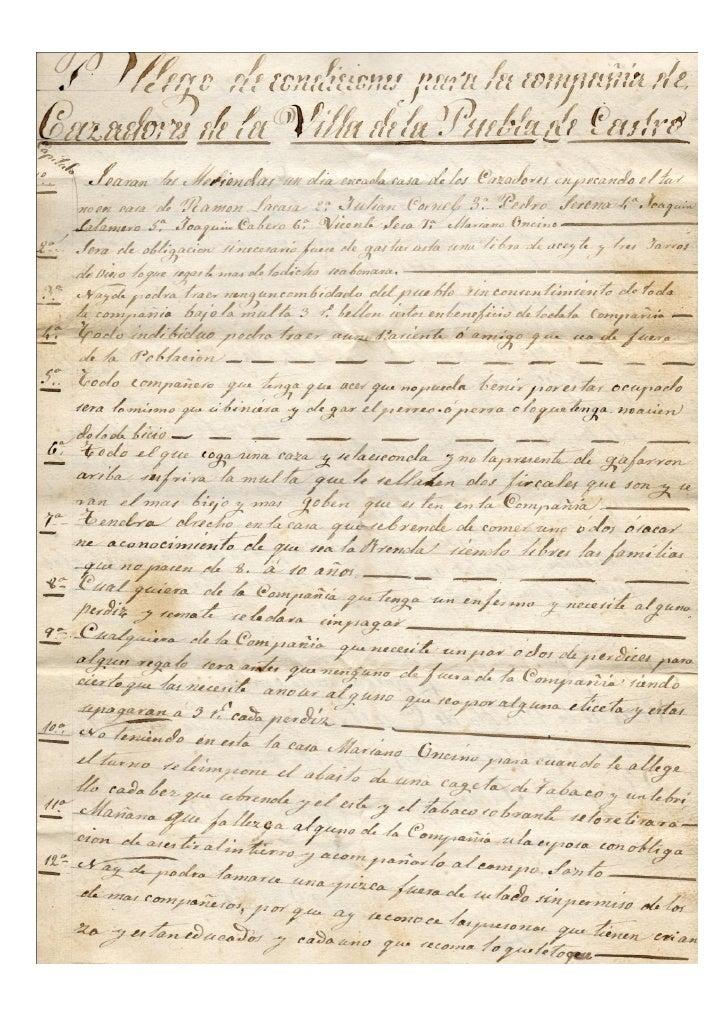 PLIEGO DE CONDICIONES DE LA COMPAÑÍA DE CAZADORES DE LA VILLA DE LA PUEBLA DE CASTRO. AÑO 1875.