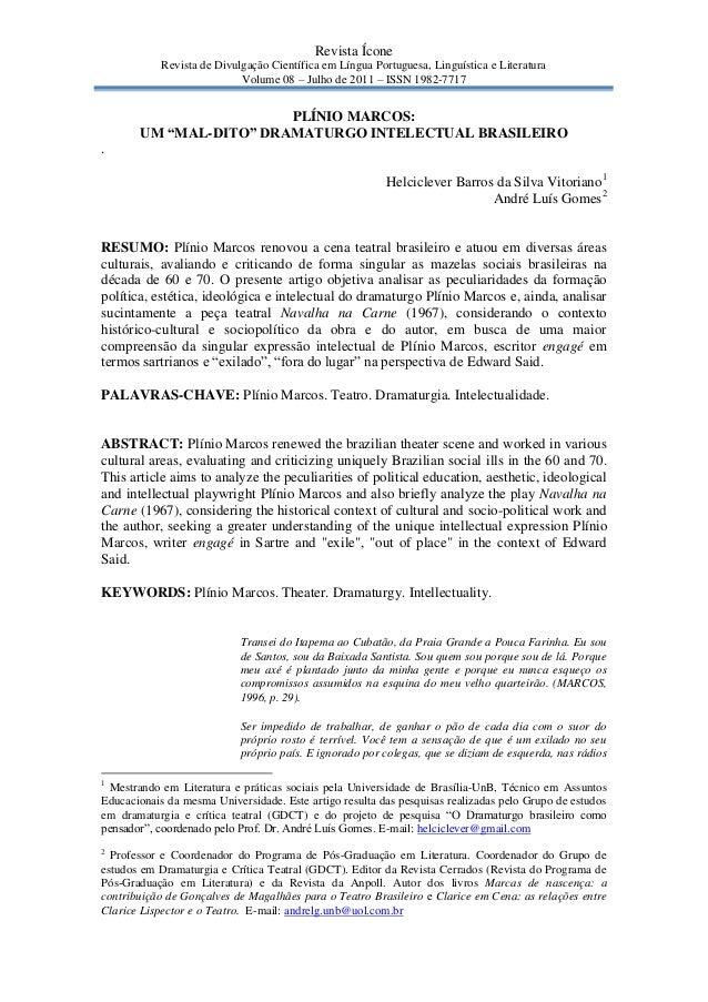 Revista Ícone            Revista de Divulgação Científica em Língua Portuguesa, Linguística e Literatura                  ...