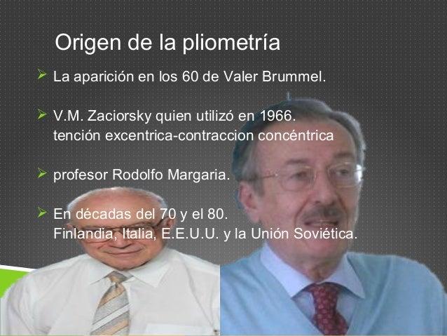 Origen de la pliometría   La aparición en los 60 de Valer Brummel.   V.M. Zaciorsky quien utilizó en 1966.  tención exce...