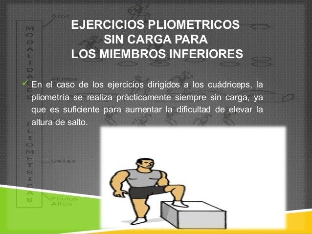 EJERCICIOS PLIOMETRICOS  SIN CARGA PARA  LOS MIEMBROS INFERIORES   En el caso de los ejercicios dirigidos a los cuádricep...
