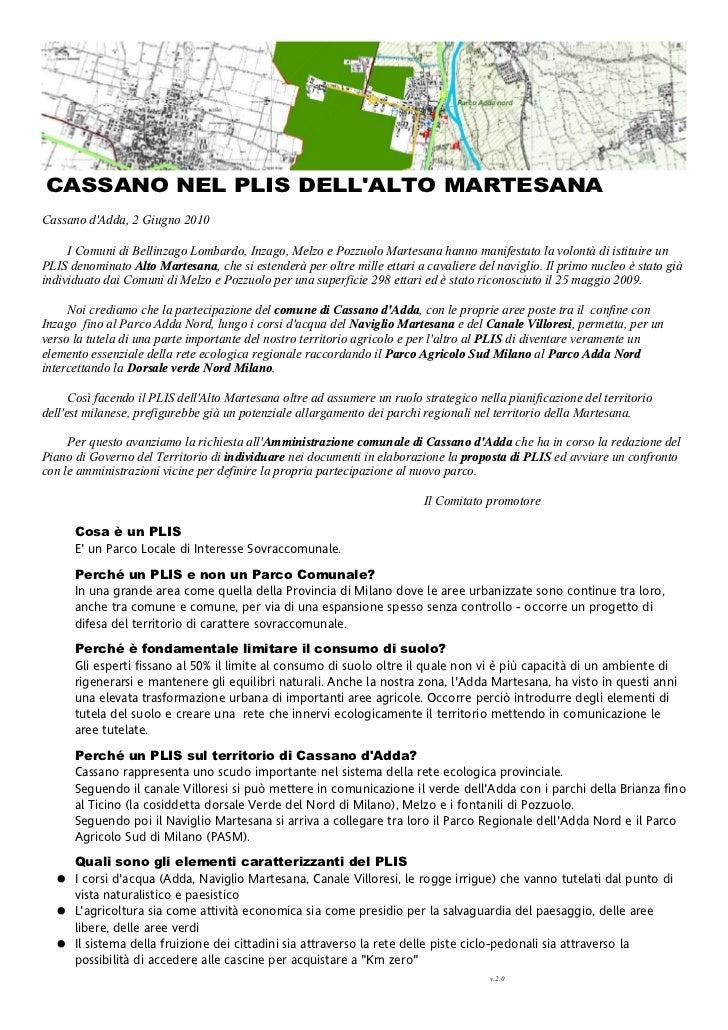 CASSANO NEL PLIS DELLALTO MARTESANACassano dAdda, 2 Giugno 2010     I Comuni di Bellinzago Lombardo, Inzago, Melzo e Pozzu...
