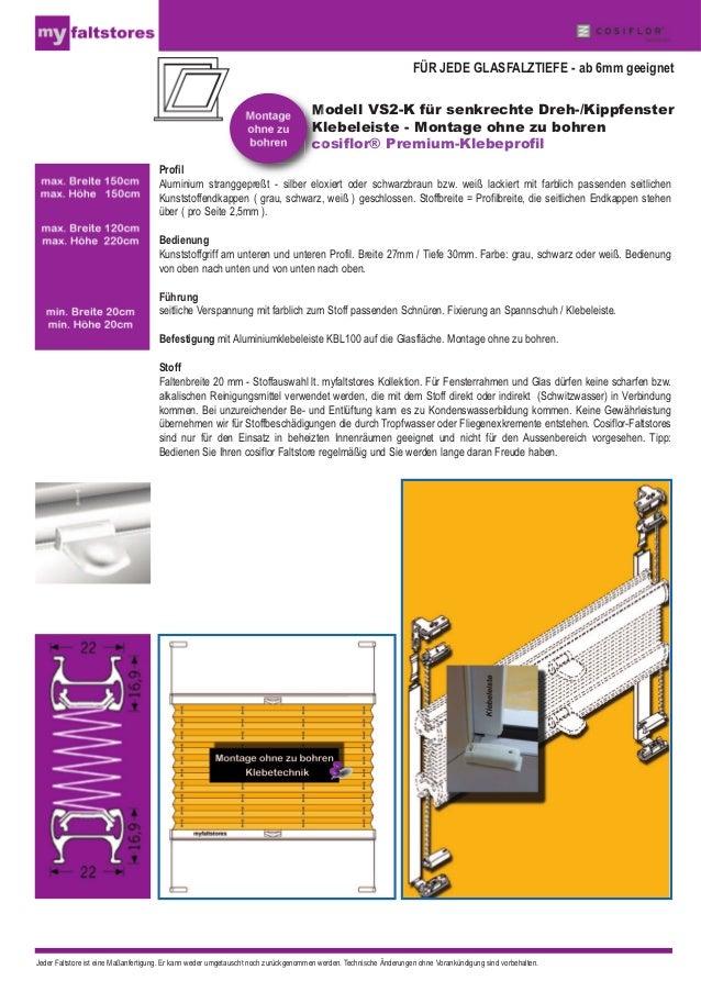 Plissee VS2-K Faltstore - Klebeleiste