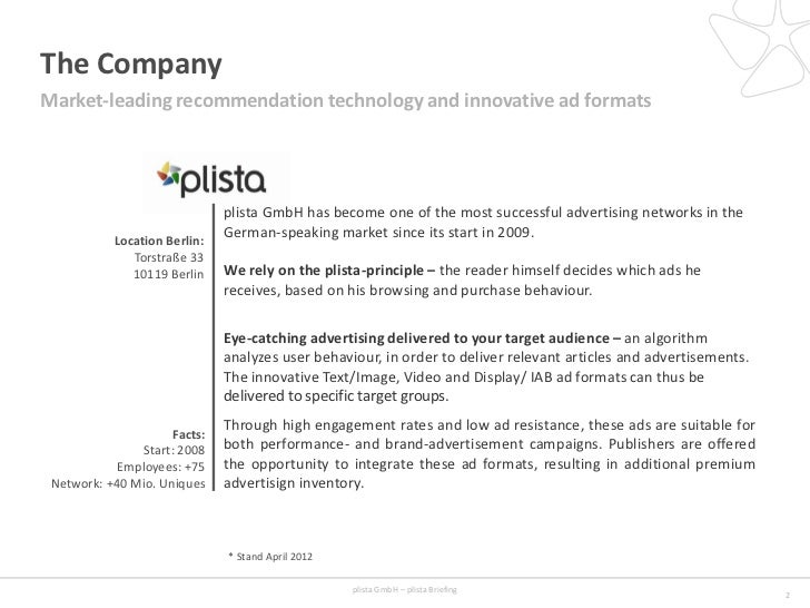 The CompanyMarket-leading recommendation technology and innovative ad formats                               plista GmbH ha...