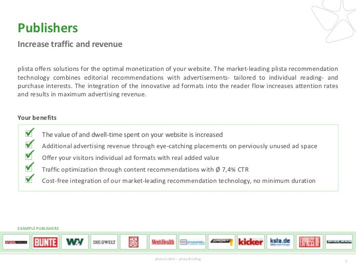 PublishersIncrease traffic and revenueplista offers solutions for the optimal monetization of your website. The market-lea...