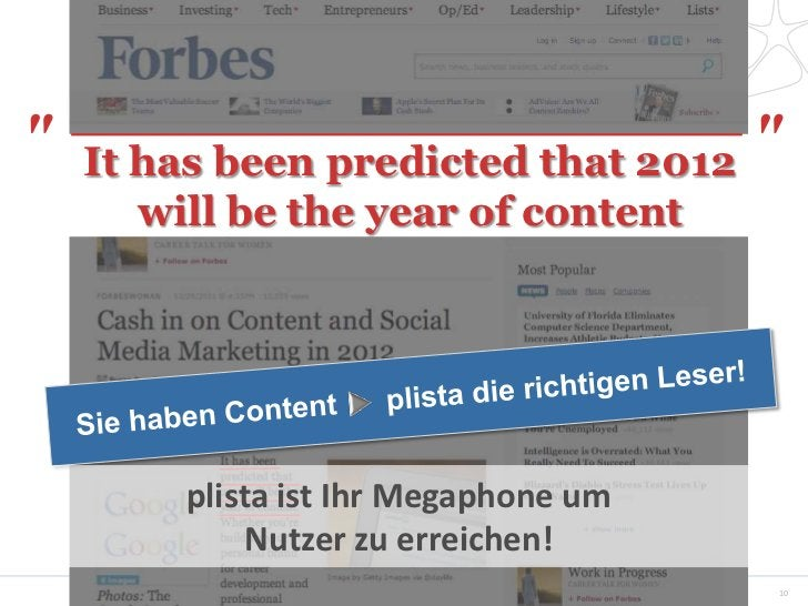 """""""   It has been predicted that 2012                                    """"      will be the year of content        plista is..."""