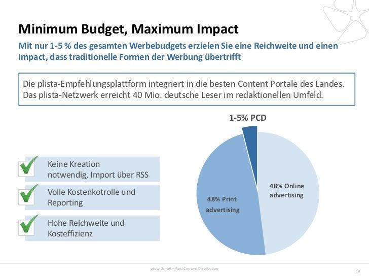 Minimum Budget, Maximum ImpactMit nur 1-5 % des gesamten Werbebudgets erzielen Sie eine Reichweite und einenImpact, dass t...
