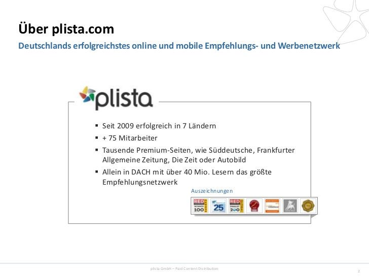 Über plista.comDeutschlands erfolgreichstes online und mobile Empfehlungs- und Werbenetzwerk                   Seit 2009 ...