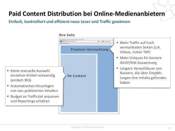 Paid Content Distribution bei Online-Medienanbietern Einfach, kontrolliert und effizient neue Leser und Traffic gewinnen  ...