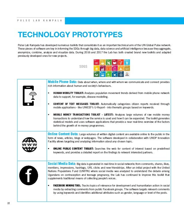 P U L S E L A B K A M P A L A TECHNOLOGY PROTOTYPES Pulse Lab Kampala has developed numerous toolkits that consolidate it ...