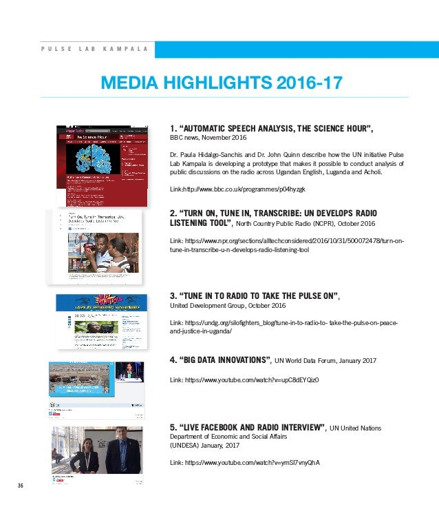 "P U L S E L A B K A M P A L A MEDIA HIGHLIGHTS 2016-17 1. ""AUTOMATIC SPEECH ANALYSIS, THE SCIENCE HOUR"", BBC news, Novembe..."