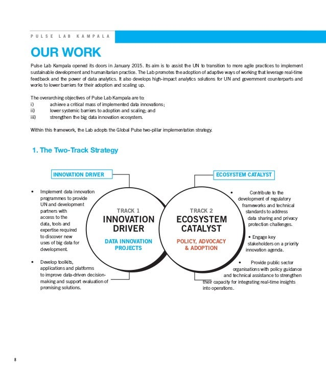 P U L S E L A B K A M P A L A OUR WORK INNOVATION DRIVER ECOSYSTEM CATALYST • Implement data innovation programmes to pro...