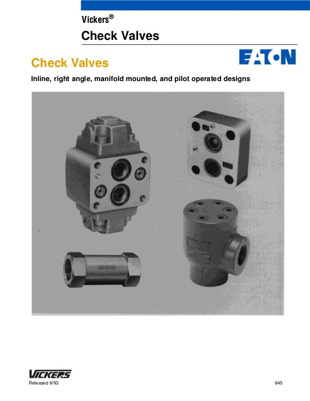 Nomenclature of check valves by vickers, eaton