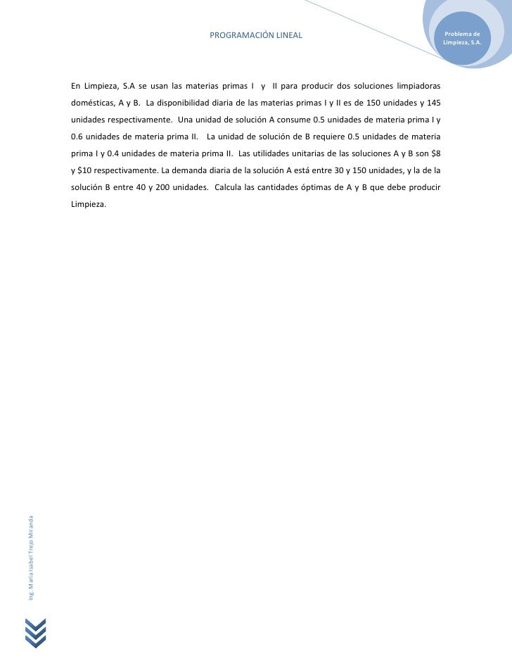 PROGRAMACIÓN LINEAL                                               Problema de                                             ...
