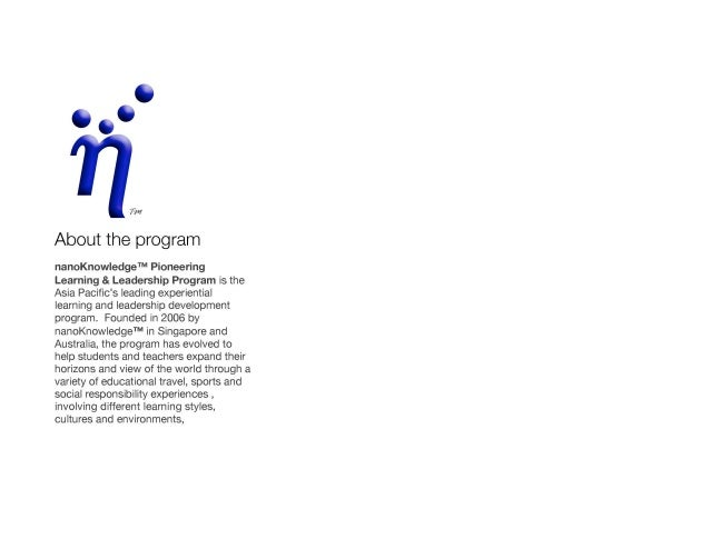 nanoKnowledge Pioneering Learning & Leadership Program