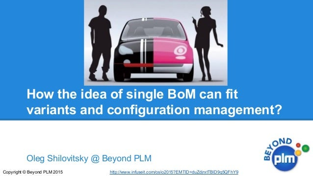 Oleg Shilovitsky @ Beyond PLM Copyright © Beyond PLM 2015 How the idea of single BoM can fit variants and configuration ma...