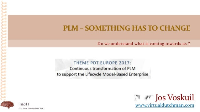Do we understand what is coming towards us ? PLM – SOMETHING HAS TO CHANGE Jos Voskuil www.virtualdutchman.com