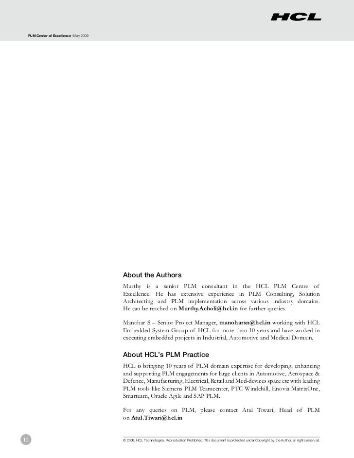 PLM Center of Excellence | May 2009                                       About the Authors                               ...