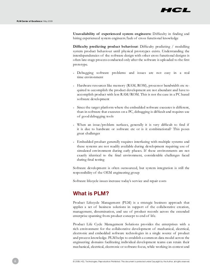 PLM Center of Excellence | May 2009                                          Unavailability of experienced system engineer...