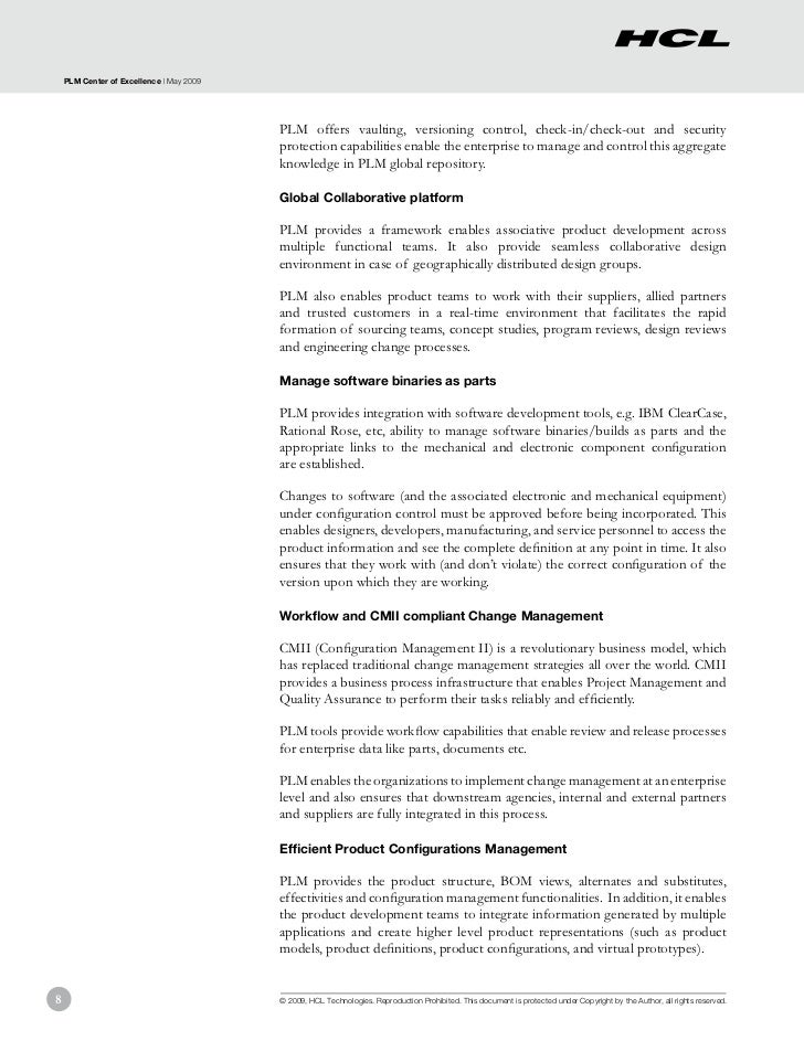 PLM Center of Excellence | May 2009                                          PLM offers vaulting, versioning control, chec...