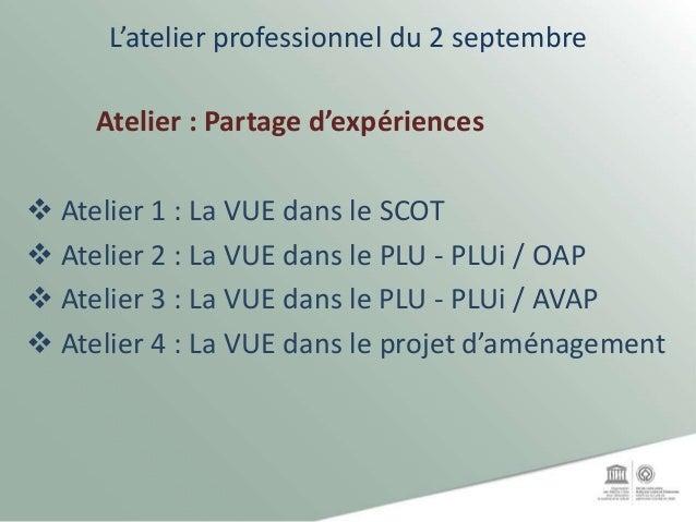 L'atelier professionnel du 2 septembre Atelier : Partage d'expériences  Atelier 1 : La VUE dans le SCOT  Atelier 2 : La ...