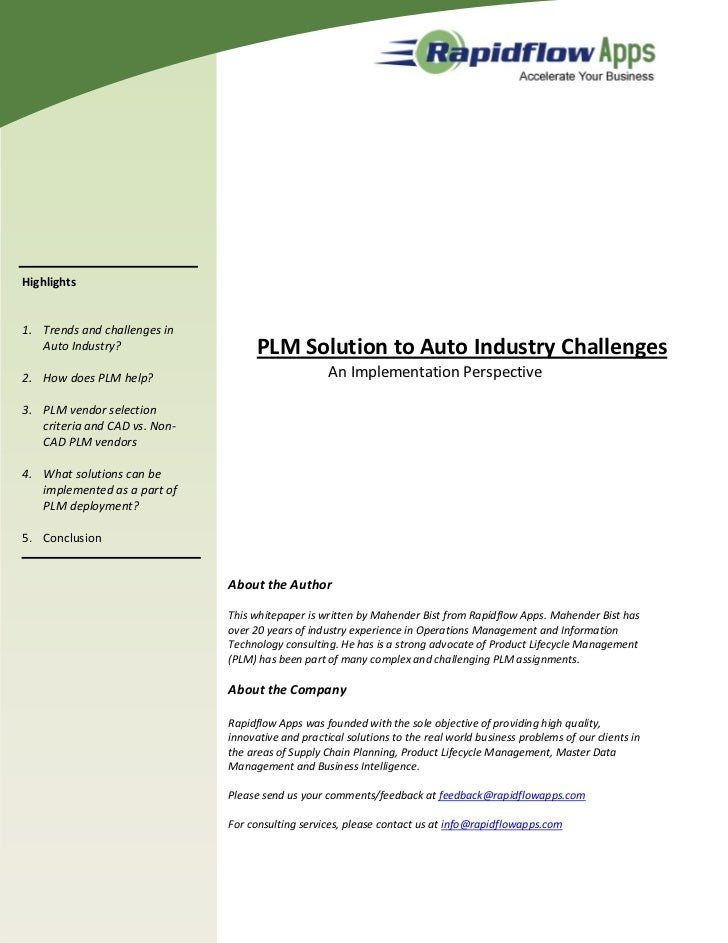 Highlights1. Trends and challenges in   Auto Industry?                    PLM Solution to Auto Industry Challenges2. How d...