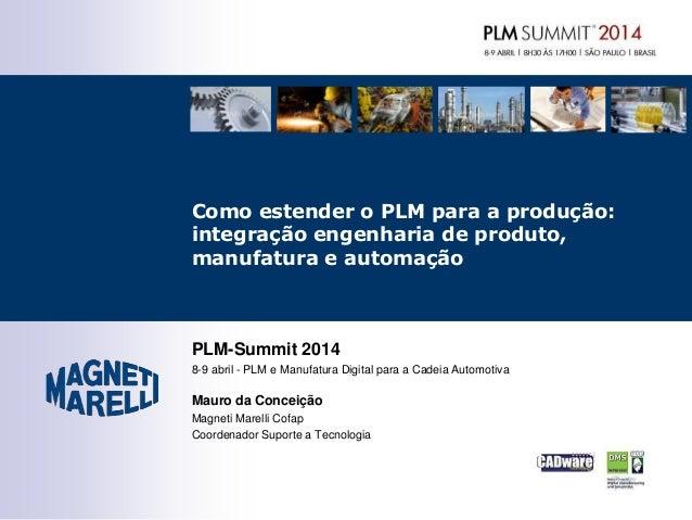 PLM-Summit 2014 8-9 abril - PLM e Manufatura Digital para a Cadeia Automotiva Mauro da Conceição Magneti Marelli Cofap Coo...