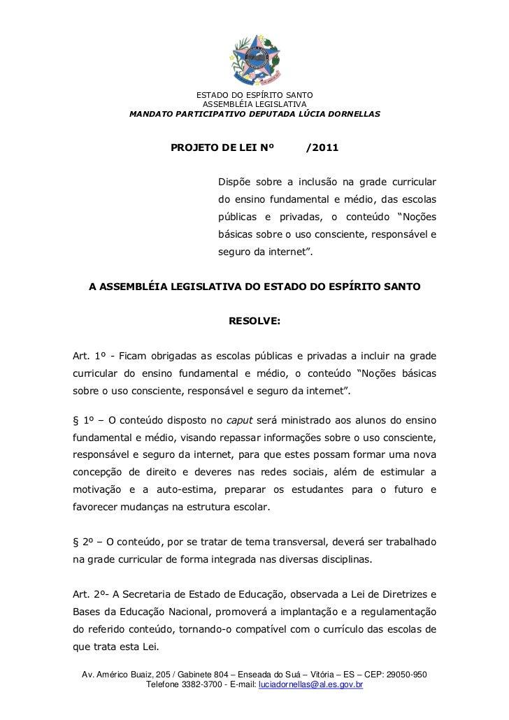 ESTADO DO ESPÍRITO SANTO                          ASSEMBLÉIA LEGISLATIVA             MANDATO PARTICIPATIVO DEPUTADA LÚCIA ...