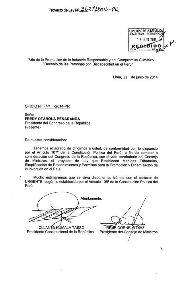 Pl N° 3627 2013-PE - Ley que establecen medidas tributarias simplificación de procedimientos y permisos para la promoción ...