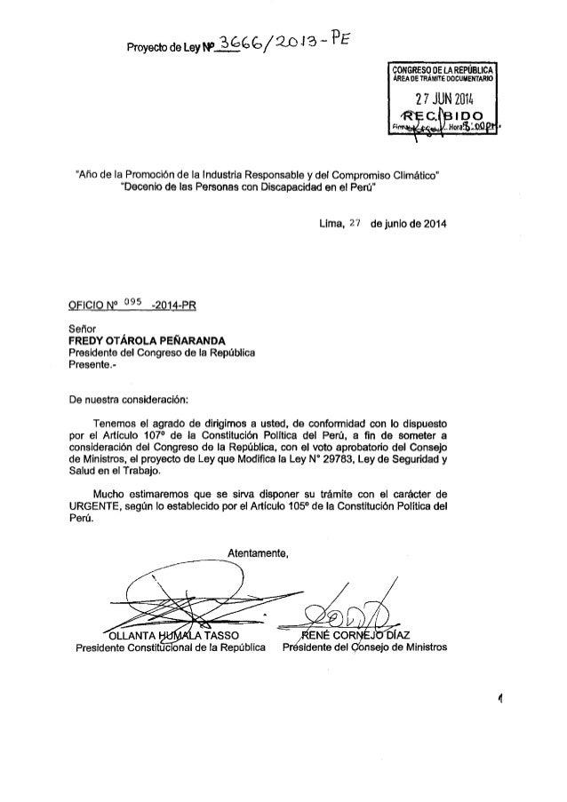 PL N° 3666 2013-PE - Modificación de la Ley de SST y Art. 168-A del Código Penal