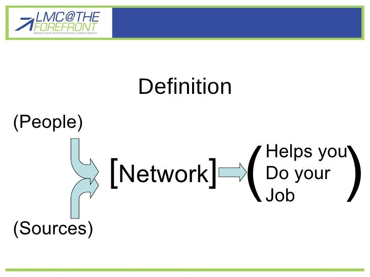 Definition [ Network ] (People) (Sources) Helps you Do your  Job ( )