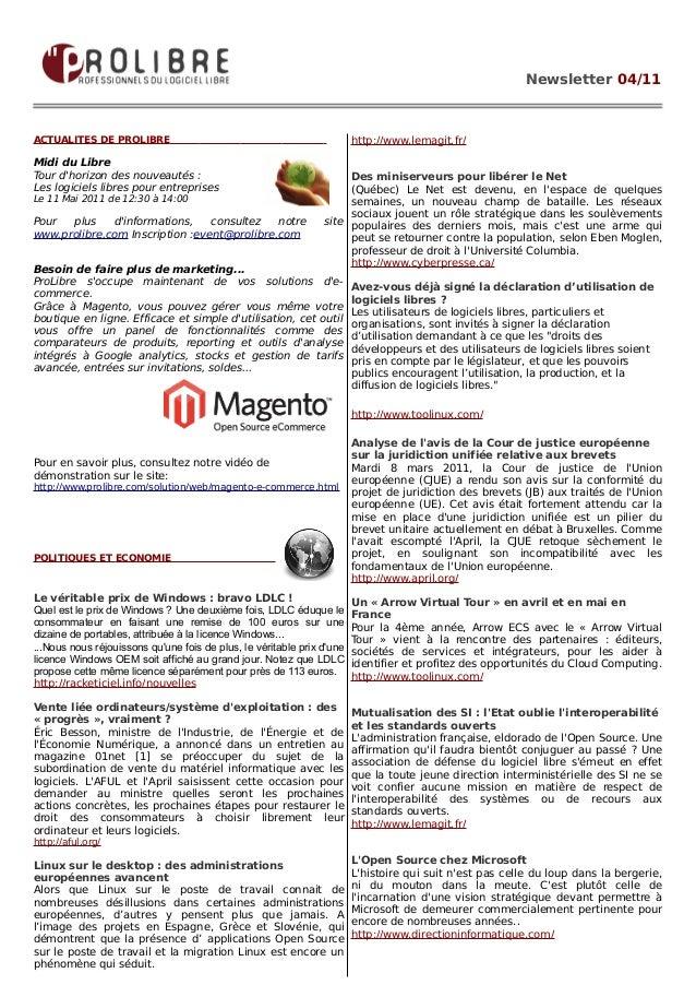 Newsletter 04/11ACTUALITES DE PROLIBRE                                                  http://www.lemagit.fr/Midi du Libr...