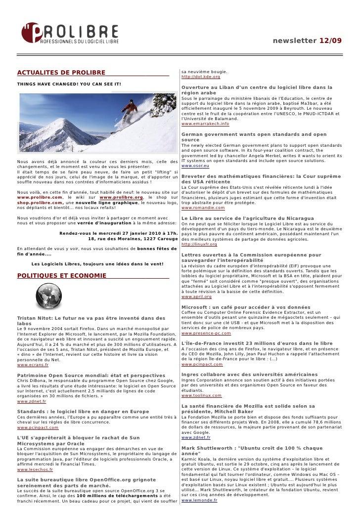 newsletter 12/09    ACTUALITES DE PROLIBRE                                                       sa neuvième bougie.      ...