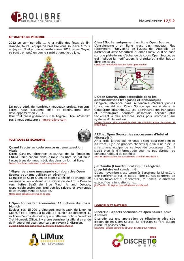 Newsletter 12/12ACTUALITES DE PROLIBRE2012 se termine déjà … A la veille des fêtes de fin             Class2Go, lenseignem...