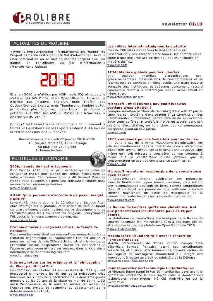 newsletter 01/10      ACTUALITES DE PROLIBRE                                                                   Les «Villes...