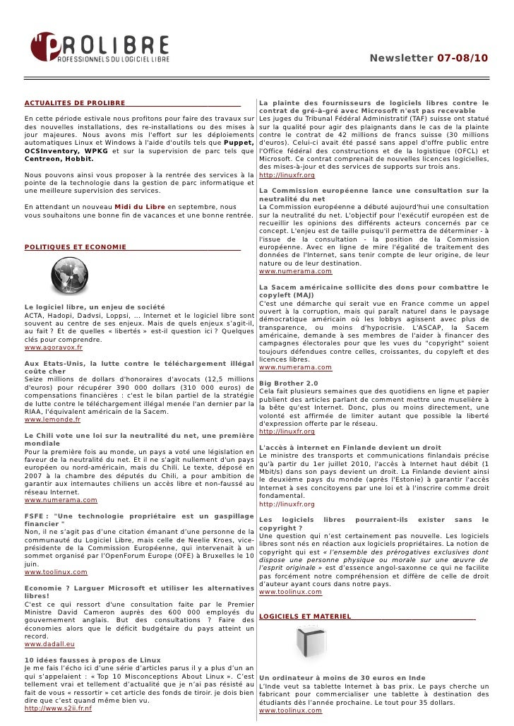 Newsletter 07-08/10    ACTUALITES DE PROLIBRE                                                     La plainte des fournisse...