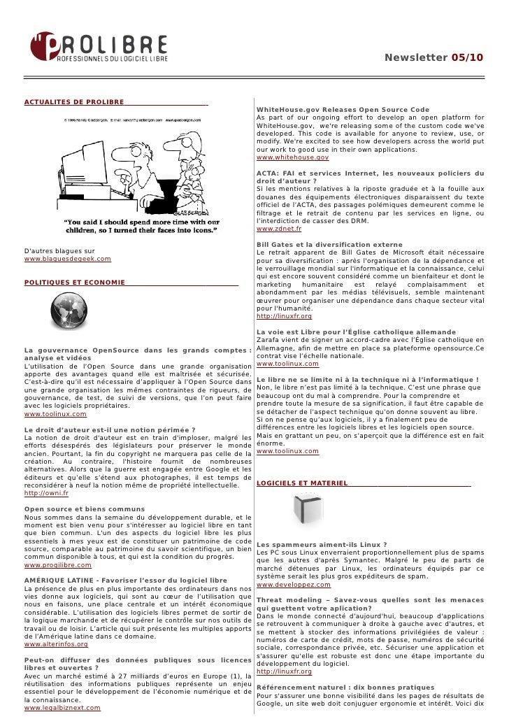 Newsletter 05/10    ACTUALITES DE PROLIBRE                                                                      WhiteHouse...