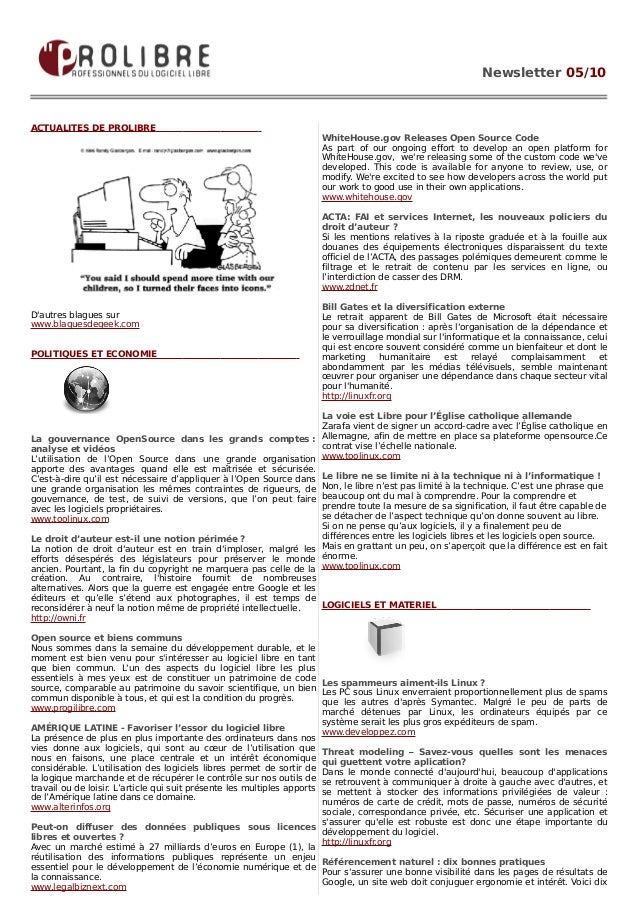 Newsletter 05/10ACTUALITES DE PROLIBRE                                                                     WhiteHouse.gov ...