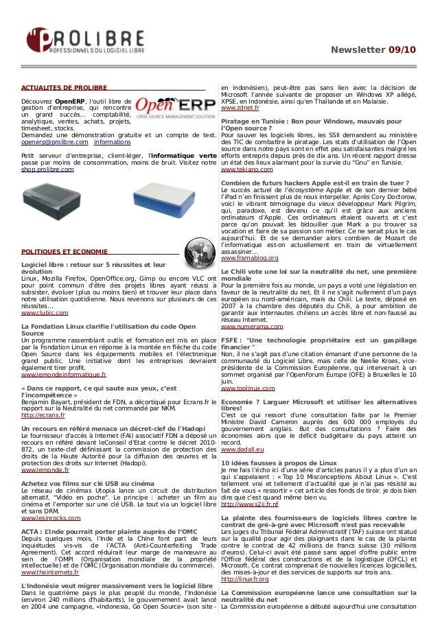 Newsletter 09/10ACTUALITES DE PROLIBRE                                               en indonésien), peut-être pas sans li...
