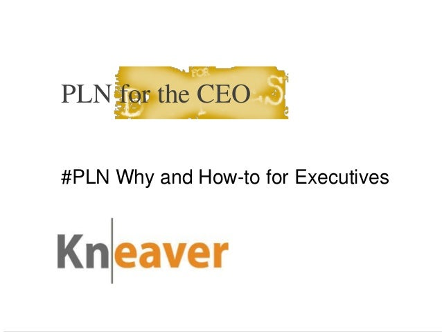 PLN for the CEO #PLN Why and How-to for Executives  Kneaver Corp